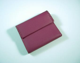 Buxton Bright Pink Leather Wallet Tri fold w/ flap and back zip coin pocket