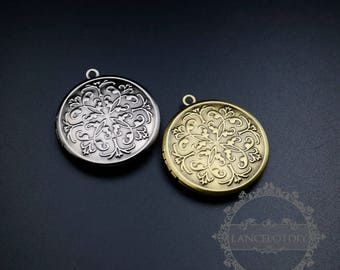 5pcs 32mm round brass bronze,antiqued silver vintage style engraved photo locket pendant charm 1111072