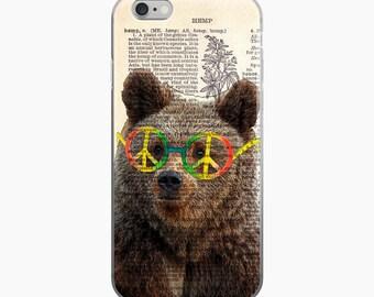 HEMP Peace Sign Bear Phone Case, Hippie iPhone 7 Plus Case, Boho 1960s Glasses Dictionary Art iPhone 6/ 6s case, iPhone 6 plus Cover 5 5s SE