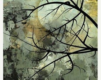 On Sale Autumn Equinox, Original Illustration, Art, Moon, Tree Silhouettes