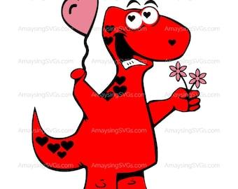 SVG - Valentinosaurus - Valentine Dinosaur - Valentine Tshirt svg - Dinosaur svg - Dino heart svg - Boy Valentine - Brontosaurus svg