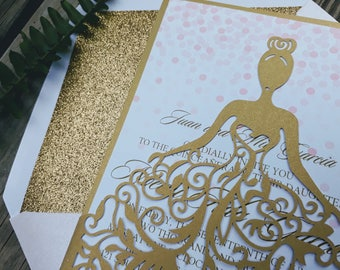 Quinceanera Invitations. Blush and Gold Laser Cut Pocket Style Invitation. Elegant Quince.  Sweet Sixteen. Modern Chic Party. Gold Glitter.