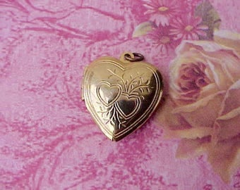 Pretty Little Heart Shaped Gold Toned Locket Pendant or Charm