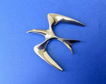 Beautiful Modernistic Flying Bird Brooch by Sarah Coventry