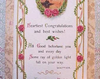 Lovely Edwardian Era Birthday Postcard with Whittier Quote