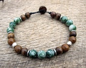 Mens surfer bracelet, tree agate, metal and wood beads, tribal mens beaded bracelet, natural materials, strong cord, handmade, one of a kind