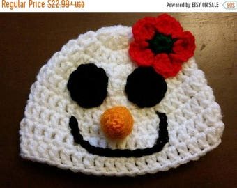 SUMMER SALE Baby Mrs. Snowman Hat Crochet - Newborn NB Beanie Boy Girl Costume Halloween  Costume Photo Prop Christmas Gift Winter Outfit
