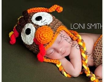 SUMMER SALE Baby  Earflap Turkey Hat - Crochet Newborn Beanie Boy Girl Costume Winter Thanksgiving Christmas Photo Prop Cap Outfit