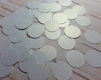 White shimmer Circle die cut confetti, Paper circle decoration, Wedding confetti, Birthday confetti,  Mix and Match