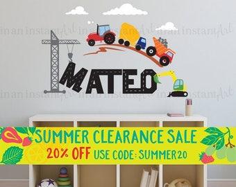 Custom Name Wall Decal | Trucks & Tractors | Custom Baby Nursery, Children's Room Interior Design | Easy Squeegee Application | 004