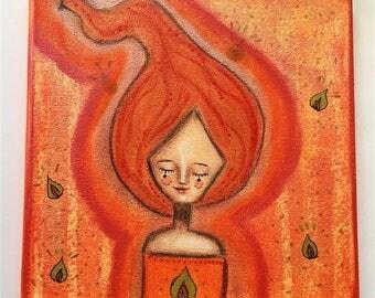 Fire Elemental Girl Art Work. Mixed media artwork. Original Art for Sale, Original Art Work, Fine Art, Original Painting, Gift Women