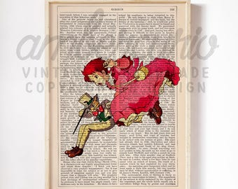 Drifting Down Whispers of the Heart Original Studio Ghibli Inspired Print on an Unframed Upcycled Bookpage
