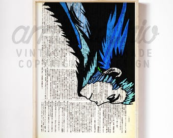 Master Howl At War Howl's Moving Castle Ghibli Inspired Original Print on an Unframed Upcycled Bookpage