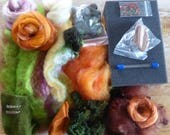 SALE Hope Jacare -Kat's mushroom brooch Needle felt pack  - lots of goodies to play with