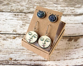 Midnight Earring Set - Stud and Dangle Moon Druzy