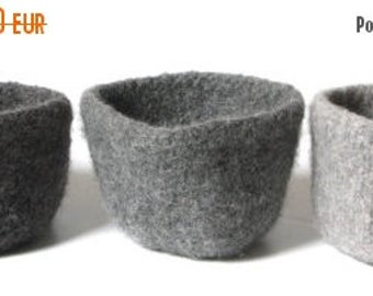ON SALE WOOLY Felted Bowls --three felted bowls in grey, blocks of grey* 12
