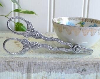 Grape scissor, vintage Swedish ornate snips, chrome plate , made in Sweden