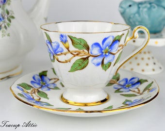 Roslyn Bone China English Teacup And Saucer Set Periwinkle Pattern, English Bone China Tea Cup,  ca. 1950-1960