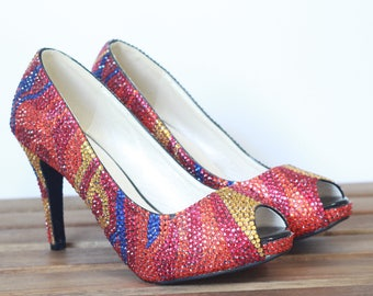 Lucerne Multi-Color Printed Pattern, Luxury Crystal  Pumps Wedding, Party