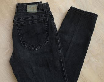 vtg 90's Lee Rider 26in High Waisted Mom Jeans Black Distressed Faded Tapered Leg 26in waist perfectly faded
