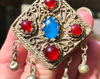 Free Shipping: Antique Turkish Brooch with Red and Blue Glass