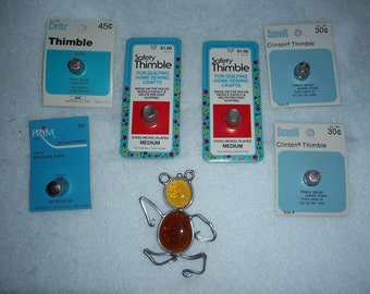 Vintage New Thimbles...Set of Six Thimbles..New in Package...