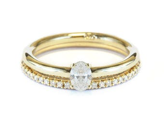 0.25ct Oval Shape Diamond  Engagement Ring with matching diamond band, diamond and gold wedding ring set HANDMADE - Silly Shiny Diamonds