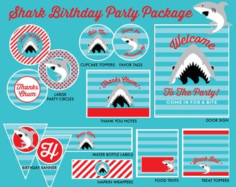 INSTANT DOWNLOAD - Shark Birthday Party Package, Shark Birthday, Shark Party Printables, Shark Printables, Shark Bite Birthday
