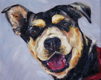 Custom Pet Portrait Oil Painting 10x10 Pet Memorial Birthday  Gift