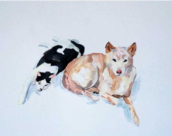 Ready to ship, Original dog painting on paper Shiba Inu Cat watercolor