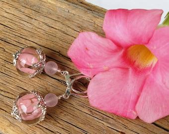 Pale Pink Petals--Handmade Clear Incased Pink Lampwork Earrings  74