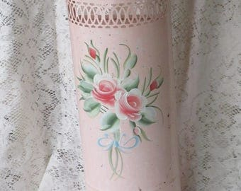 Pink Metal Tissue Holder - Handpainted 1950's