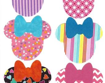 6 Minnie iron on fabric appliques DIY