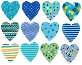 Heart iron on fabric appliques DIY - size small