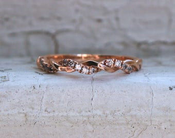Thin Twisted Vintage 14K Rose Gold Diamond Wedding Band.