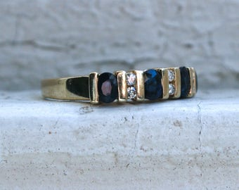 Lovely Vintage 10K Yellow Gold Diamond and Sapphire Wedding Band - 1.02ct.