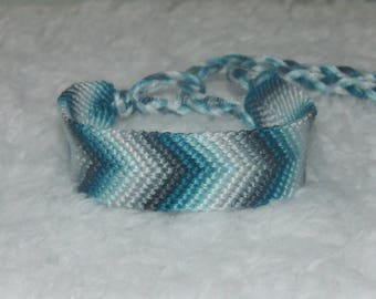 Turquoise to Grays Ombre Chevron  friendship bracelet