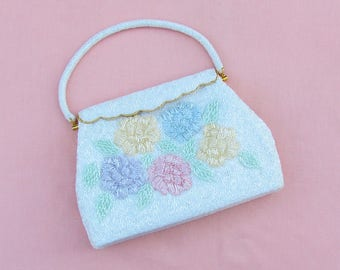 Vintage beaded handbag in white and pastels, 1960's beaded purse with padded flowers, dressy purse for mother of the bride or groom