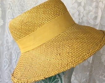 Vintage Fedora Style Yellow Straw HAT. Tina Too Yellow Straw Hat With Matching Grosgrain Ribbon Hat Band and a Hollow Dome on Crown.
