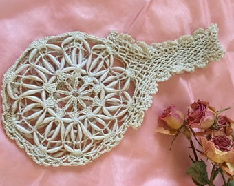 Vintage Crocheted Small Purse No Lining. Round Purse With Crocheted Handle. Beautiful Thread Work.