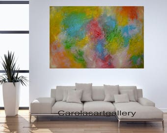 "36""  Colorful Original Abstract Painting  Acrylic Painting Modern Art  Handmade by Carola, 36""x24"""