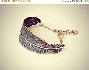 VACATION SALE silver feather cuff bracelet, feather accessory, native american, chevron bracelet