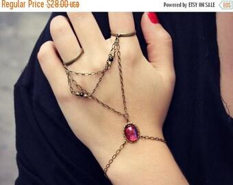 VACATION SALE mexican opal double ring Hand chain, ring bracelet, slave ring, unique bracelet, dragons breath, slave braclet
