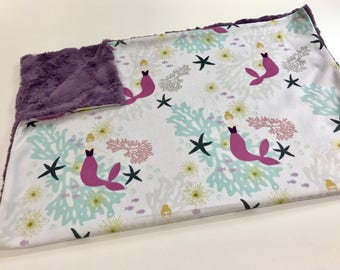 Purple Mermaids Baby Girl Minky Blanket