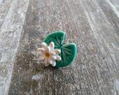 Lily pad ring ceramic green leaf Spring time Water lily flower