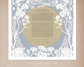 Twin Cherry Trees papercut ketubah for Beth