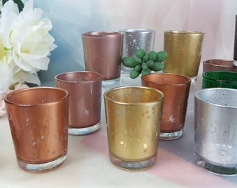 1 per rose gold silver copper mercury glass votive candle holders