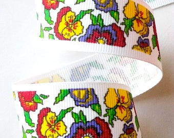 "Ribbon  - 1""  x 5 yards  Pansey Grosgrain Ribbon"