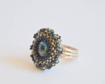 Blue silver gunmetal delicate Swarovski crystal adjustable ring, beaded ring, handmade ring, Swarovski ring, silver ring