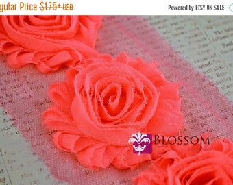 ON SALE 1/2 or 1 YARD Increment - Neon Pink - Chiffon Shabby Rose Trim - Headband Flower - Bright Pink Flowers - diy baby flower headband cl